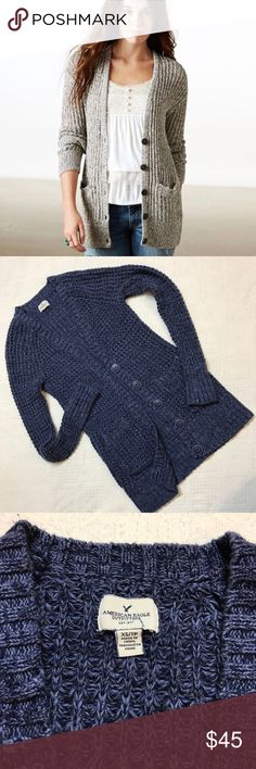 Blue American Eagle crochet cardigan size xs Like new! American Eagle Outfitters Don't ask why crochet cardigan, button down with pockets! First picture shows fit the rest are the actual cardigan! It's a gorgeous blue color great for fall! Only worn once or twice. No flaws or signs of wear!    ••••Bundle & Save•••• American Eagle Outfitters Sweaters Cardigans