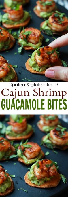 Cajun Shrimp Guacamole Bites the perfect appetizer for your next game day party! Creamy spicy healthy paleo and delicious!