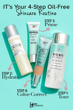 IT's Your Oil-Free Skincare Routine with NEW Bye Bye Pores Leave-On Solution by IT Cos. - Care - Skin care , beauty ideas and skin care tips Nail Care Routine, Skin Care Routine Steps, Skin Care Tips, Skincare Routine, Makeup Routine, What Causes Tooth Decay, Primer Oil, Skin Toner, Best Oral