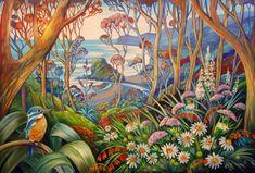 Piha Daydream 1 by Irina Velman - Art Prints New Zealand Boat Shed, Wall Art For Sale, Contemporary Artists, Daydream, Canvas Frame, New Zealand, Wild Flowers, Original Art, Birds