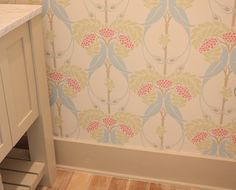 for a powder bath or little girls bathroom... could get lil on the wild side and paint the trim the pink in berries... presh!!