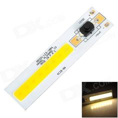 AROOG-LED-1004 DIY 8W 720lm Warm White Square COB LED Module w/ Switch (12~13V). Brand N/A Model AROOG-LED-1004 Material Aluminum alloy + silicone Color White + black + yellow colour system Quantity 1 Voltage 12~13V V Product size 100 x 24mm Bulb interface Welding Power 8W Product Certification Current: 630mA; Luminous flux: 700~720lm; Voltage: DC 12~13V; Color Temperature: 3300~3500K; Working temperature: -20~60'C; Life span: 50000hours; Beam angle: 120'C Packing List 1 x Module. Tags…