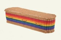 Suitable for traditional or green burial or green cremation. Funeral Ideas, Funeral Memorial, Casket, Macabre, Coffin, Wicker, Death, Rainbow, Colour