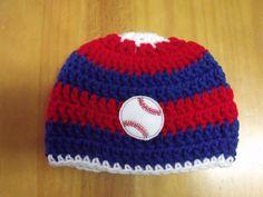7a83261b294 Chicago Cubs Baseball Handmade Crochet Newborn Baby Beanie 0-6 months Blue   amp  Red