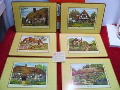 Vtg Pimpernel English Cottages Placemats Set of 6, Made of Wood/Fib Cork Acrylic