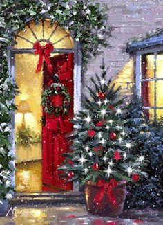 christmas scenes Christmas Warm Interior the macneil studio Christmas Drawing, Christmas Paintings, Christmas Art, Christmas Greetings, Winter Christmas, Christmas Themes, Christmas Wreaths, Christmas Decorations, Xmas