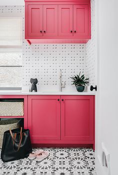 This Playful Boston Townhouse Will Bring Out The Pet-Lover In Anyone Love these bright pink cabinets! /// This Playful Boston Townhouse Is A Pet-Lover's Dream – Lon Pink Laundry Rooms, Laundry Room Design, Condo Decorating, Interior Decorating, Interior Design, Design Interiors, Pink Cabinets, Vintage Fireplace, Little White House