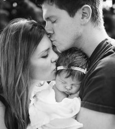 Newborn photo op - try dad kiss mom, mom kiss older child, older child kiss baby
