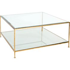 Worlds Away Hammered Gold Leaf Square Coffee Table Clear, Gold Quadro... ($1,997) ❤ liked on Polyvore featuring home, furniture, tables, accent tables, gold table, worlds away furniture, gold furniture, gold leaf table and glass top table