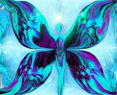 Reiki Wall Decor Goddess Energy Art Blue Purple Teal 8 x 10 Abstract Art Print