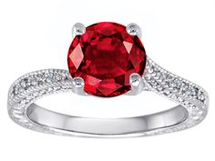 Star K Round Created Ruby Solitaire Ring