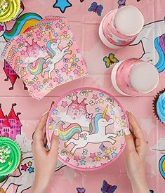 12 tazas de papel nos corazón Unicornio Con Hoja De Oro Pastel Fiesta Vajilla De Unicornio