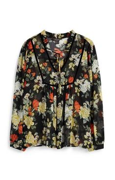 Floral Velvet Trim Smock Top White Sleeveless Blouse, Yellow Blouse, Primark Tops, Khaki Shirt, Cute Crop Tops, Going Out Tops, White Embroidery, Velvet Tops, Tunic Shirt