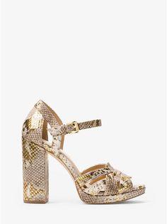 *A size 8, please.*  Annaliese Metallic Embossed-Leather Platform Sandal