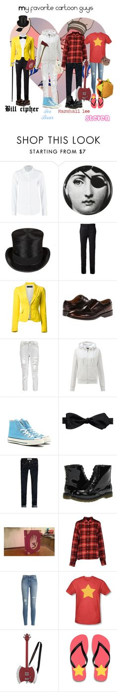 """""""My favorite cartoon guys ♪( ´▽`)"""" by hetalia-lover ❤ liked on Polyvore featuring Lee, Fornasetti, MM6 Maison Margiela, Dsquared2, Paul Smith, Boohoo, Converse, Bonobos, Hollister Co. and Jellycat"""