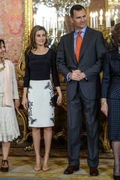 Spanish Crown Prince Felipe and Crown Princess Letizia attends the 2014 Cervantes award lunch at Royal Palace.