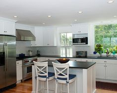 Like the white cabinets and chairs with the dark counters.