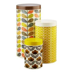Orla Kiely Brown U0026 Yellow Round Canister Set | $29.99
