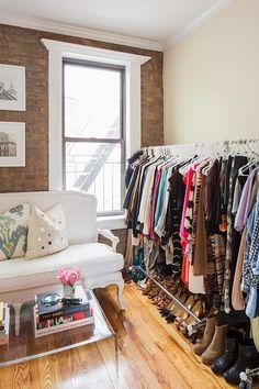 small apartment makeshift closet