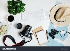 Beautiful Hipster Flatlay With Hat, Dslr Camera, Lens, Coffee, Map, Flower, Notebook And Binocular. Working Space Surface Top View. Creative Work Table For Photographer, Traveller, Blogger Stock Photo 479499043 : Shutterstock