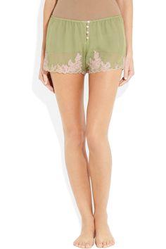 Rosamosario|Venetian Love lace-trimmed silk-crepe shorts