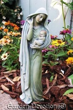 Sacred Garden, Mini Gardens, Outdoor Gardens, Mama Mary, Blessed Mother  Mary, Garden Statues, Patio Ideas, Madonna, Altars