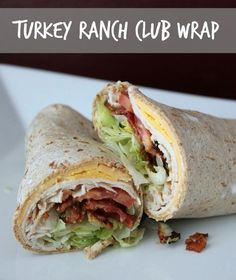 Turkey Ranch Club Wraps - Simple easy  healthy recipe you can throw together in less than 20 minutes. Less than 5 minutes if the bacon is cooked ahead of time. Yep that's right BACON!! Use a low carb wrap for a easy on the go lunch - #mrcmeals #turkey #wrap