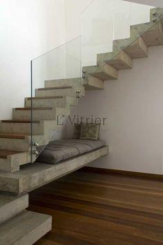 Under Stairs Idea Escalier Design, Concrete Stairs, Modern Stairs, Interior Stairs, House Stairs, Staircase Design, Stairways, Architecture Design, New Homes