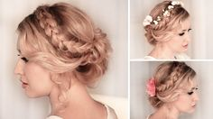 Christmas hair tutorial ❤ Braided curly updo hairstyle for medium/long hair
