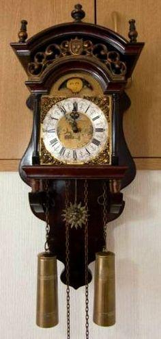 オランダWUBAアンティーク木製柱時計月ムーンフェイズジャンク ¥1600円 〆03月17日