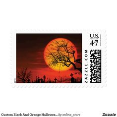 Custom Black And Orange Halloween Stamps At Night