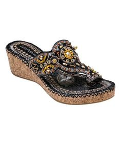 Another great find on #zulily! Black Embellished T-Strap Sandal #zulilyfinds