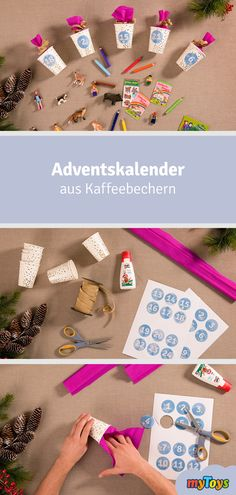 Basteln Sie in wenigen Schritten einen tollen Adventskalender aus Kaffeebechern, den Sie nach Herzenslust füllen können. #adventskalender #kinder #diy #selbstgemacht