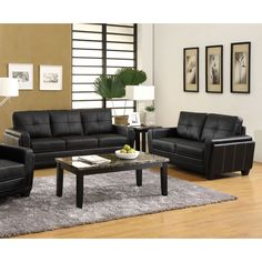 Classic comfort and style make the Bedford 2-Piece Leatherette Sofa Set a great choice for any space. By mixing easily with most decor, it's an inviting sofa by day that provides extreme comfort by night.