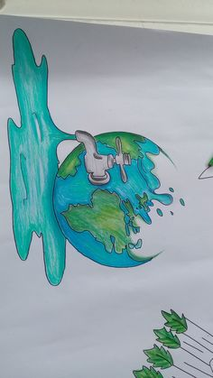 project of science : project of science Earth Drawings, Cool Art Drawings, Pencil Art Drawings, Drawing Sketches, Drawing Ideas, Notebook Art, Save Water Poster Drawing, Save Earth Drawing, Doodle Art