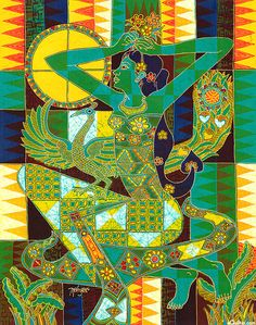 "Indonesian Princess - 18"" x 22"" Hand Painted Batik Panel -  Quilt Fabrics from www.eQuilter.com"