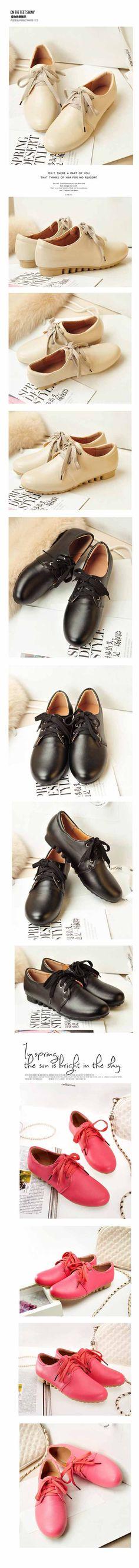 รองเท้าส้นเตี้ย แฟชั่นเกาหลีสไตล์ผ้าใบหนัง นำเข้า ไซส์34ถึง39