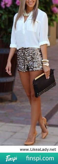 The New Year& DIY outfit #outfit #summer #shorts #night #sequins #chic #summer nights