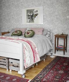 #bohemiandecor in bedroom, Notice the bedside table is a stood attached on the wall. How great is that