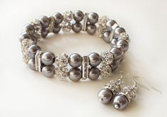 Bridesmaid pearl bracelet earrings gray by MareWeddingJewelry