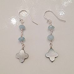 #MK821ER - $48 - Aquamarine with shell flower earrings with sterling silver hooks - by Raised By Wolves NYC