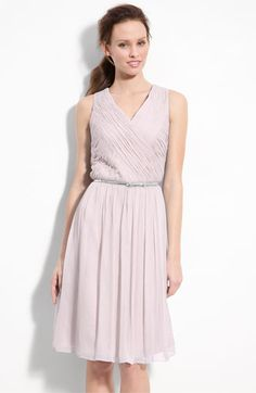 Donna Morgan Belted Ruched Chiffon Dress | Nordstrom