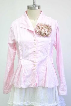 Features:     Fitted Jacket   Raw edges   Button closure   100% Striped Cotton Broadcloth, Petal   Fits Sizes 2-12