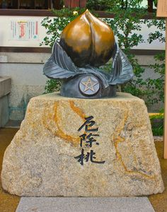 You can see this peach bust in the Seimei shrine along Horikawa dori in Kyoto. Here is the explanation of this Bust: In ancient China and Yin and Yang religion, peaches are said to be the fruit for talismans and to ward off evil. In the Kojiki and Nihon Kojiki (two famous works of ancient Japan) the images of people using peaches to chase away evil spirits can be seen. The bedtime story which most Japanese people know, Momotarou  also derives from this belief.