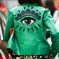 KENZO. Green leather jacket
