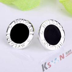 Jet Black Stud Earrings
