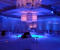 Specialty flooring makes this wedding dance floor glow in the light.