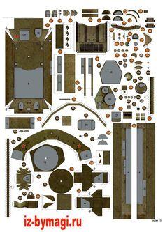 Схемы деталей танка Т-34 из бумаги №1