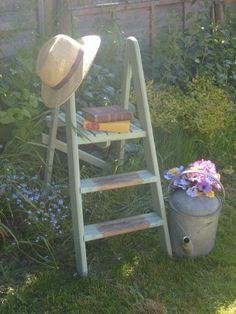 Shabby Chic Vintage Wooden Platform Ladder  by RoseGardenEmporium, £28.99