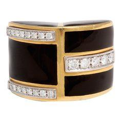 1STDIBS.COM Jewelry & Watches - DAVID WEBB - David Webb Diamond Black Enamel & Yellow Gold Ring - Windsor Jewelers Inc.
